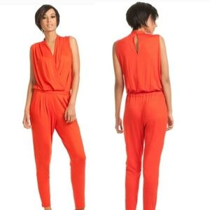 Trina Turk Orange Drape Neck Elastic Jumpsuit
